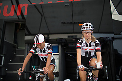 Coryn Rivera (USA) and Leah Kirchmann (CAN) of Team Sunweb warm up for the Prudential Ride London Classique - a 66 km road race, starting and finishing in London on July 29, 2017, in London, United Kingdom. (Photo by Balint Hamvas/Velofocus.com)