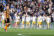 Sheffield Wednesday forward Jordan Rhodes (7) scores a goal 0-1 and celebrates during the EFL Sky Bet Championship match between Hull City and Sheffield Wednesday at the KCOM Stadium, Kingston upon Hull, England on 14 April 2018. Picture by Mick Atkins.