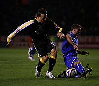 Photo: Steve Bond.<br /> Leicester City v Cardiff City. Coca Cola Championship. 26/11/2007. Gavin Rae (L) avoids a challange
