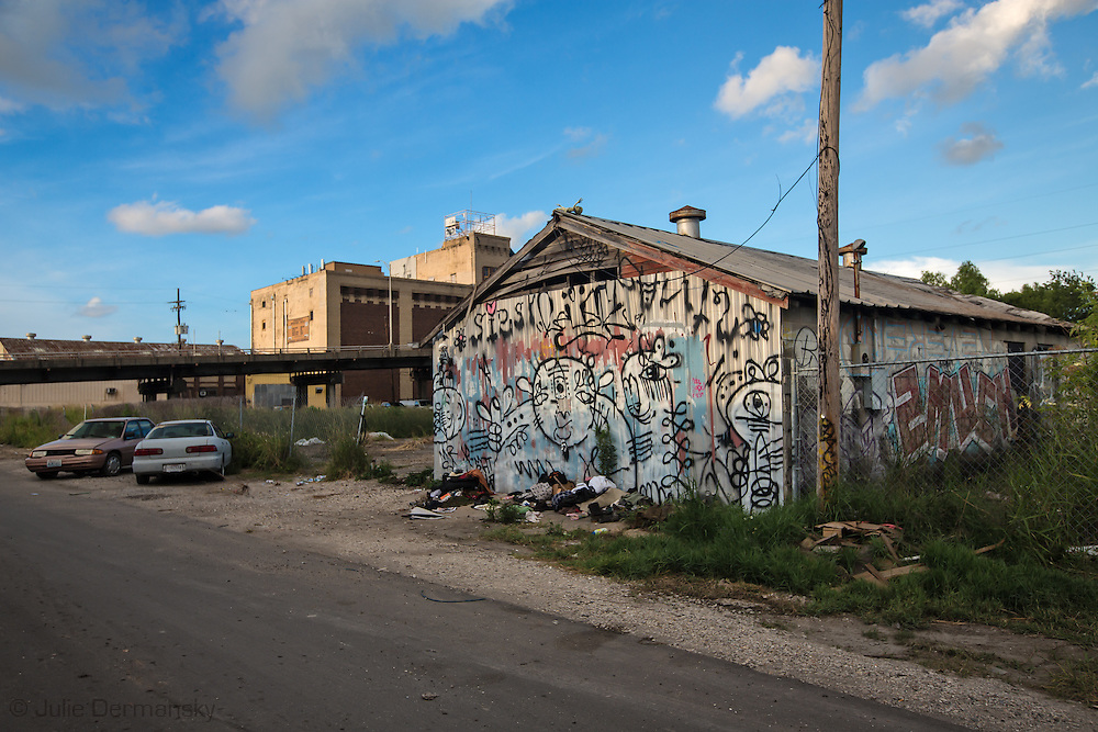 June 11, 2015, New Orleans, LA,  graffiti covered abandoned building nearly ten years after Hurricane Katrina flooded the area.