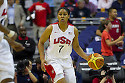 TEAM USA forward Maya Moore brings the ball up the court during the 2012 USA Women's Basketball Team versus Brazil at Verizon Center in Washington, DC.  USA won 99-67.  July 16, 2012  (Photo by Mark W. Sutton)