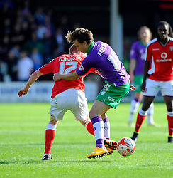Bristol City's Luke Freeman battles for the ball with Walsall's Reece Flanagan  - Photo mandatory by-line: Joe Meredith/JMP - Mobile: 07966 386802 - 04/10/2014 - SPORT - Football - Walsall - Bescot Stadium - Walsall v Bristol City - Sky Bet League One