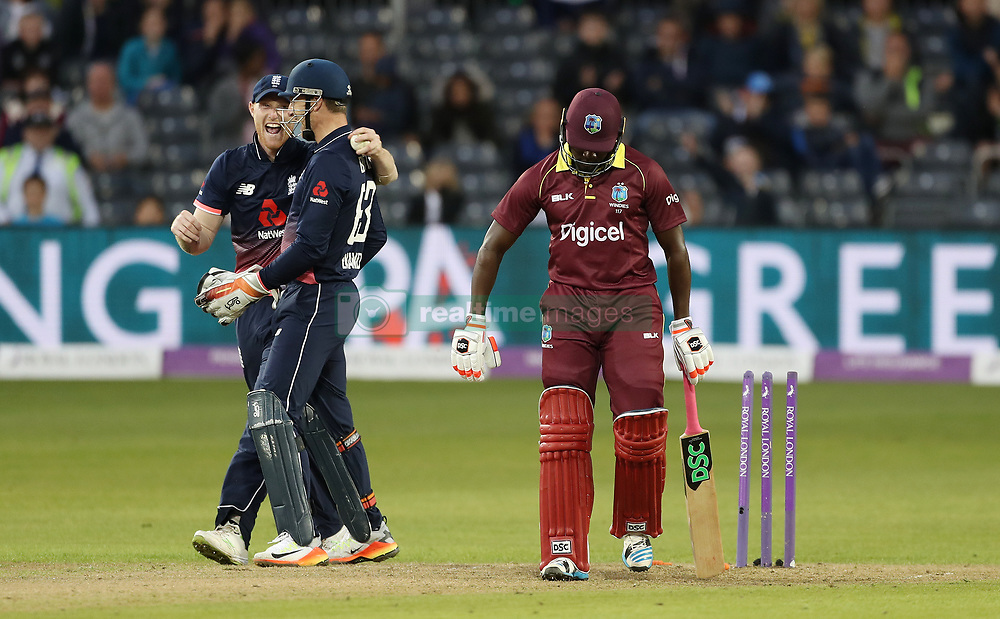 West Indies' Jerome Taylor is bowled by England's Adil Rashid during the Third Royal London ODI at Bristol County Ground.