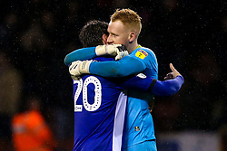 Cameron Dawson of Sheffield Wednesday and Adam Reach of Sheffield Wednesday celebrate after the draw with Sheffield United - Mandatory by-line: Robbie Stephenson/JMP - 09/11/2018 - FOOTBALL - Bramall Lane - Sheffield, England - Sheffield United v Sheffield Wednesday - Sky Bet Championship