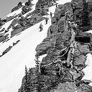 The group heading up a boot pack.