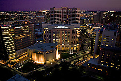 Aerial view of Texas Medical Center in Houston at night.