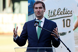 OAKLAND, CA - SEPTEMBER 21:  Oakland Athletics president Dave Kaval speaks during the team's Hall of Fame ceremony before the game against the Texas Rangers at the RingCentral Coliseum on September 21, 2019 in Oakland, California. The Oakland Athletics defeated the Texas Rangers 12-3. (Photo by Jason O. Watson/Getty Images) *** Local Caption *** Dave Kaval