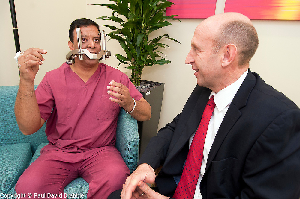 John Healey MP Member for Wentworth  Dearne meets Gama Knife Radio Therapy patient Faruque Ahmed during his Visits Thornbury Medical Centre.17th October 2011. Image © Paul David Drabble