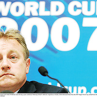 1 October 2007; Ireland head coach Eddie O'Sullivan reacts during a press conference following Ireland's defeat by Argentina on Sunday which eliminated them from the 2007 Rugby World Cup. Sofitel Porte Des Serves, Paris, France. Picture credit; Brendan Moran / SPORTSFILE