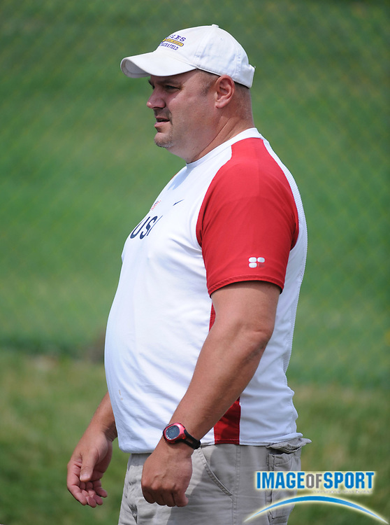 Jun 22, 2008; Columbus, OH, USA; Ashland coach Jud Logan watches the hammer competition at the USA Track & Field Junior Championships at Jesse Owens Memorial Stadium at Ohio State. Mandatory Credit: Kirby Lee/Image of Sport-US PRESSWIRE