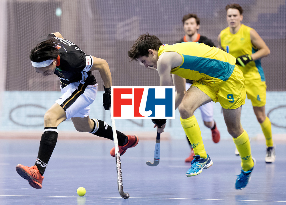 BERLIN - Indoor Hockey World Cup<br /> Men: Germany - Australia<br /> foto: Daniel Nguyen and James Knee.<br /> WORLDSPORTPICS COPYRIGHT FRANK UIJLENBROEK