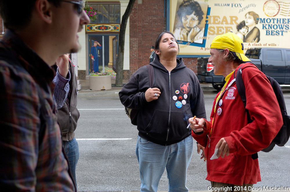 "Inital meeting of panhandlers and community activists to create a public panhandler meeting. The decisions were for a July 2 meeting at All Saints' Church, for the panhandlers to tell their stories and for a meal. Additionally there is going to be a delegation to City Hall next Monday to discuss the proposed care meters.These meeting and actions are a response a pejorative coumn in the local daily calling panhandlers ""pests"" and ""vermin""."