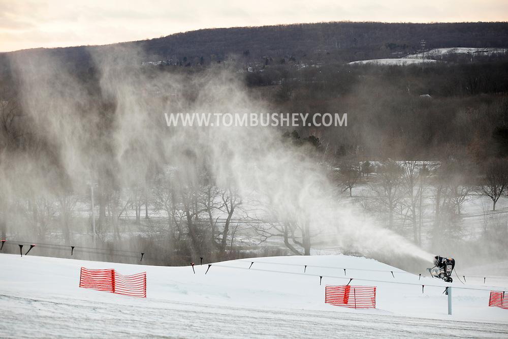 Hamptonburgh, New York - A snow-making machine blows snow onto the snow-tubing hill at Thomas Bull Memorial Park on  Dec. 14, 2010.