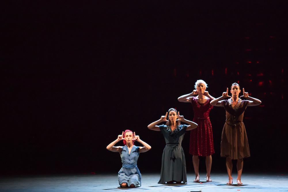 "Dancers as chorus in Barak Marshall's ""Harry""."