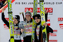 Best three ski jumpers in season 2010/2011 Thomas Morgenstern, Simon Ammann and Adam Malysz during Flying Hill Individual Final Round at 4th day of FIS Ski Jumping World Cup Finals Planica 2011, on March 20, 2011, Planica, Slovenia. (Photo By Matic Klansek Velej / Sportida.com)