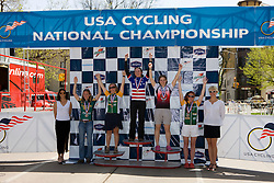 Women's division 1 criterium winners Julie Bellerose (University of Michigan - Ann Arbor), Anna McLoon (Harvard University), K. Jo Markham (Lees-McRae College), Carla Swart (Lees-McRae College), Amanda Miller (Colorado State University).Podium awards were given out after The 2008 USA Cycling Collegiate National Championships Criterium event held in Fort Collins, CO on May 11, 2008.