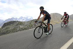 Jesus Herrada (ESP) Movistar Team and Nicolas Roche (IRL) BMC descend the Col du Galibier during Stage 4 of the 104th edition of the Tour de France 2017, running 183km from La Mure to Serre Chevalier, France. 19th July 2017.<br /> Picture: Eoin Clarke | Cyclefile<br /> <br /> All photos usage must carry mandatory copyright credit (&copy; Cyclefile | Eoin Clarke)