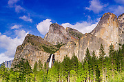 Bridalveil Fall and the Leaning Tower, Yosemite National Park, California USA