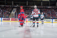 KELOWNA, CANADA - MARCH 3:  Jake McGrew #8 of the Spokane Chiefs lines up opposite Conner Bruggen-Cate #20 of the Kelowna Rockets on March 3, 2018 at Prospera Place in Kelowna, British Columbia, Canada.  (Photo by Marissa Baecker/Shoot the Breeze)  *** Local Caption ***