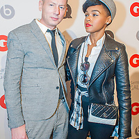 GQ Editor-In-Chief Jim Nelson and Janelle Monae, posing at the GQ & Lebron James NBA All Star Style party sponsored by Samsung Galaxy on Saturday, February 15, 2014, at the Ogden Museum of Southern Art in New Orleans, Louisiana with live jam session from grammy Award-winning Artist The Roots. Photo Credit: Gustavo Escanelle / Retna Ltd.