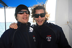 Marcel Rodman and Gregor Poloncic of Slovenian National Team at whale watching boat when some guys  were celebrating an anniversary of playing for Slovenian National Team for 100 (120) times, during IIHF WC 2008 in Halifax,  on May 07, 2008, sea at Halifax, Nova Scotia,Canada.(Photo by Vid Ponikvar / Sportal Images)