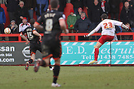 Picture by David Horn/Focus Images Ltd +44 7545 970036.16/03/2013.Dani Lopez of Stevenage scores his and his side's third goal to make it 3-0 during the npower League 1 match at the Lamex Stadium, Stevenage.