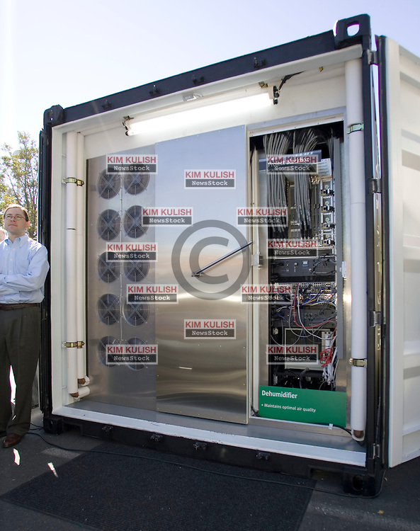 Sun Microsystems  has created a new data center with equipment in convenient shipping container-sized modules called Project Blackbox.  They believe some customers would embrace the self contained solution rather than building more expensive and elaborate buildings on their own. Sun CEO Jonathan Schwartz is pictured at left.  Photo by Kim Kulish