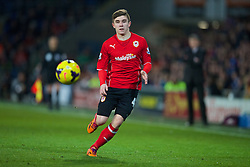 CARDIFF, WALES - Tuesday, February 11, 2014: Cardiff City's Declan John in action against Aston Villa during the Premiership match at the Cardiff City Stadium. (Pic by David Rawcliffe/Propaganda)