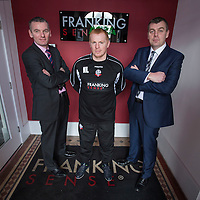Picture shows Bolton Wanderers manager Neil Lennon visiting Bolton Company and one of the main sponsors Franking Sense at their headquarters in Astley Bridge in Bolton<br />