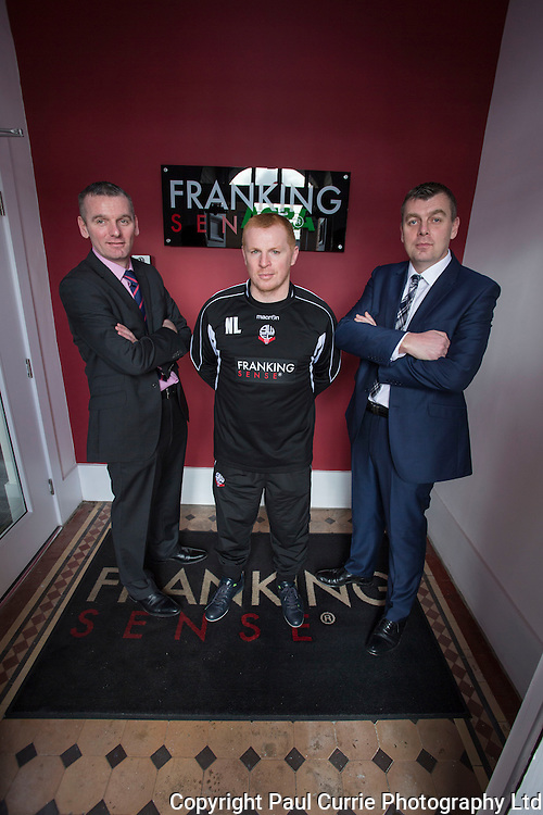 Picture shows Bolton Wanderers manager Neil Lennon visiting Bolton Company and one of the main sponsors Franking Sense at their headquarters in Astley Bridge in Bolton<br /> He met with owners Julian and Daniel Gilbert and various staff members<br /> Pictures by Paul Currie<br /> www.paulcurriephotos.com<br /> 07796 146931