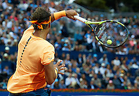 BARCELONA, SPAIN - APRIL 24:  Rafael Nadal of Spain in action against Kei Nishikori of Japan during day seven of the Barcelona Open Banc Sabadell at the Real Club de Tenis Barcelona on April 24, 2016 in Barcelona, Spain.  (Photo by Manuel Queimadelos Alonso/Getty Images)
