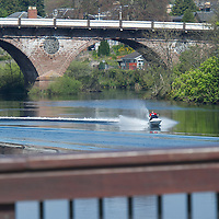 Perth Sheriff Court.....3.5.2012.  (NO BYLINE TO BE USED WITH THIS IMAGE)<br /> A Jet Skier on the River Tay between the two road bridges in the centre of Perth.<br /> (Please see Gordon Currie story 01738 446766).<br /> COPYRIGHT: Perthshire Picture Agency.<br /> Tel. 01738 623350 / 07775 852112.