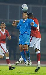 San Marino, San Marino - Wednesday, October 17, 2007: Wales' Danny Gabbidon and San Marino's captain Andy Selva during the Group D UEFA Euro 2008 Qualifying match at the Serravalle Stadium. (Photo by David Rawcliffe/Propaganda)