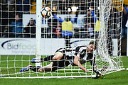 Notts County forward Jonathan Stead (30) in the back of the goal smiles after scoring to make it 1-1 during the The FA Cup 4th round match between Notts County and Swansea City at Meadow Lane, Nottingham, England on 27 January 2018. Photo by Jon Hobley.
