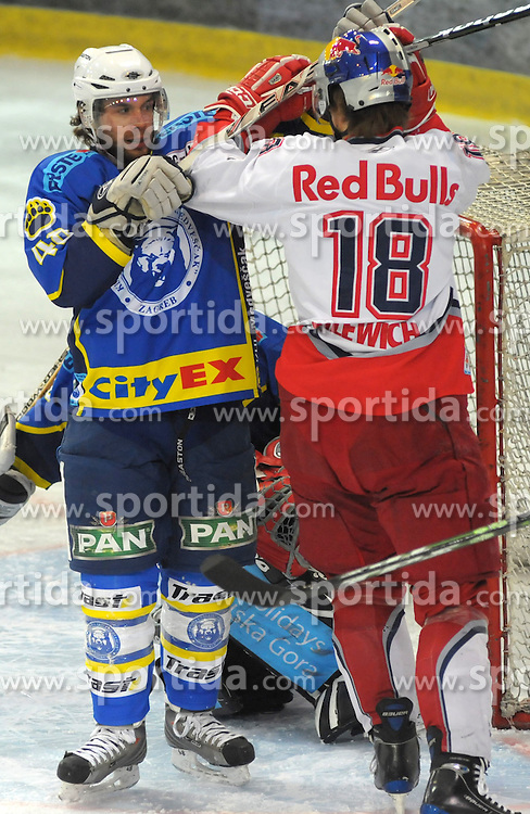 09.03.2010, Volksgarten, Salzburg, AUT, EBEL, EC Red Bull Salzburg vs KHL Medvescak Zagreb,  im Bild  Kenneth MACAULAY und Jonathan FILEWICH, EXPA Pictures © 2010, PhotoCredit: EXPA/ M. Laux / SPORTIDA PHOTO AGENCY