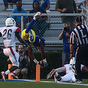 Delaware Running Back WES HILLS (31) dives into the end zone during a week one game between the Delaware Blue Hens and the Delaware State Hornets, Thursday, Sept. 01, 2016 at Tubby Raymond Field at Delaware Stadium in Newark, DE.