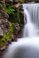 Norway, Rogaland, Sandnes. Waterfall at Imsvatnet, long exposure.