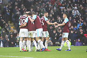 13 Jeff Hendrick scores and celebrates for Burnley FC during the Premier League match between Burnley and Fulham at Turf Moor, Burnley, England on 12 January 2019.