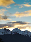 Alpen glow/sunset over the Hunter Mountains of Fiordland National Park, Manapouri, Southland, New Zealand; Sept 2012