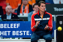 Paul Haarrhuis is watching the match between<br /> Kiki Bertens and Aljaksandra Sasnovich in the Fed Cup qualifier against Belarus in Sportcampus Zuiderpark, The Hague, Netherlands