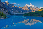 Moraine Lake and the Valley of the Ten Peaks.<br />