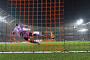 Hull City midfielder David Meyler scores his penalty for hull to win during the Capital One Cup Fourth Round match between Hull City and Leicester City at the KC Stadium, Kingston upon Hull, England on 27 October 2015. Photo by Ian Lyall.