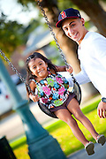 Hispanic Father And Daughter At George Washington Park, Anaheim