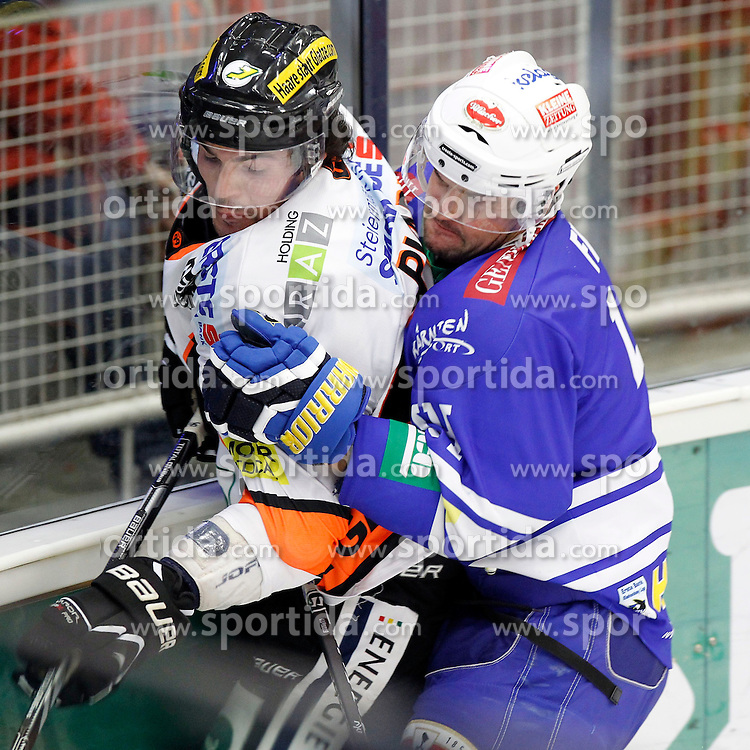 27.10..2013, Stadthalle, Villach, AUT, EBEL, EC VSV vs Moser Medical Graz99ers, 28. Runde, im Bild Alexandre Picard (Graz99ers,#45) und Curtis Fraser (VSV,#44) // during the Erste Bank Icehockey League 28th round between EC VSV vs Moser Medical Graz99ers, at the City Hall, Villach, Austria, 2013/10/27, EXPA Pictures © 2013, PhotoCredit: EXPA/ Oskar Hoeher