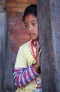 Girl at Taumadhi Square in Bhaktapur, Nepal.