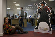 Portrait of Creative Director Mike Simpson at Creative Assembly, the PC gaming brand Total War 's Horsham offices in West Sussex, England. Mike employs up to 65 designers, artists and animators have worked on Empire: Total War (about the formation of the United States - the road to independence) for 3 1/2 years. Historical accuracy is such that research into weaponry, ships and events is as realistic as possible with the employment of historians with PHDs and degrees. (Note to editors: High-resolution screen grabs of Empire are in the possession of writer Nina Ernst).