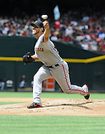 Apr. 7, 2012; Phoenix, AZ, USA; San Francisco Giants pitcher Madison Bumgarner (40) pitches against the Arizona Diamondbacks during the first inning at Chase Field. Mandatory Credit: Jennifer Stewart-US PRESSWIRE
