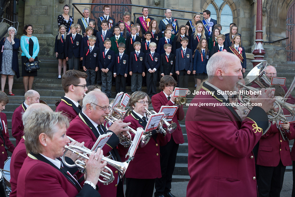 The installation of the Cornet at the Old Parish Church steps, at The Peebles Beltane Festival, including their Common Riding of the Marches, with Cornet Daniel Williamson, and Cornets Elect Lass Susan Thomson, in Peebles, Scotland, Wednesday 19th June 2013. <br /> N55&deg;39.070'<br /> W3&deg;11.543'