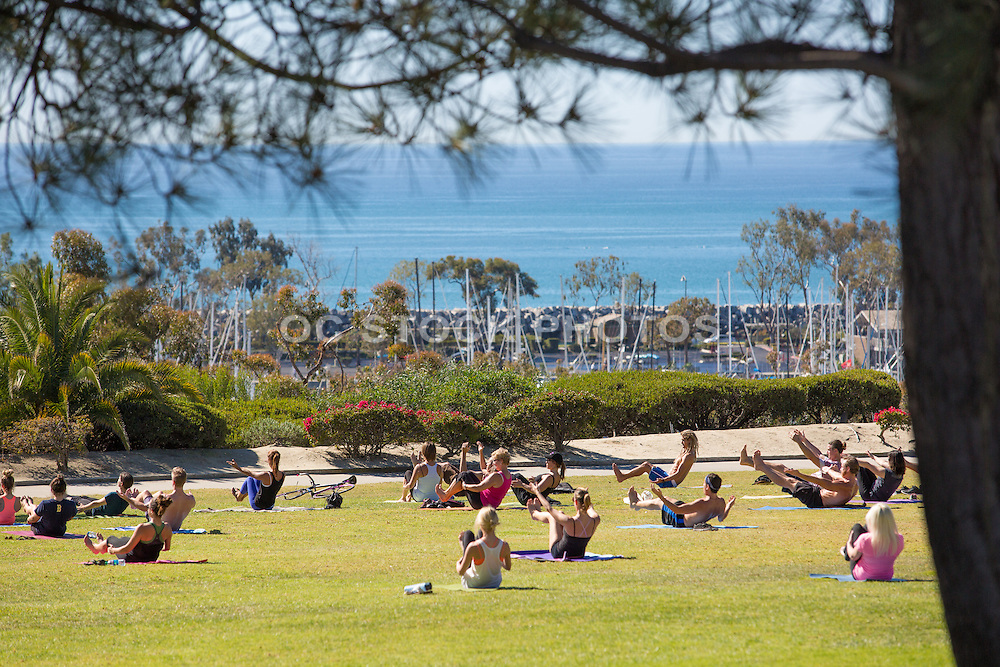 Outdoor Yoga Overlooking the Harbor at Lantern Bay Park in Dana Point
