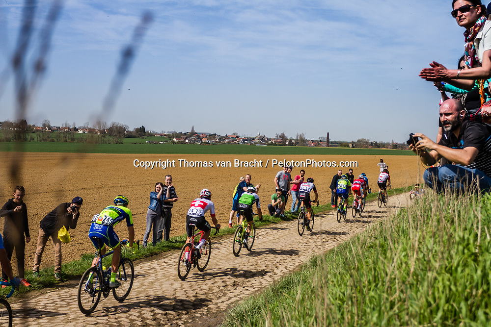 Leading group at the 3 star cobblestone sector 25 from Saint-Hilaire to Saint-Vaast during the 2018 Paris-Roubaix race, France, 8 April 2018, Photo by Thomas van Bracht / PelotonPhotos.com | All photos usage must carry mandatory copyright credit (Peloton Photos | Thomas van Bracht)